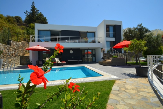 bodrum villa with large garden, pool and sea views